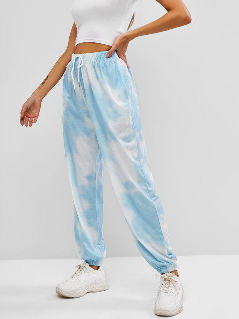 ladies ZAFUL Tie Dye Pocket Drawstring Jogger Pants - LIGHT BLUE L Mobile