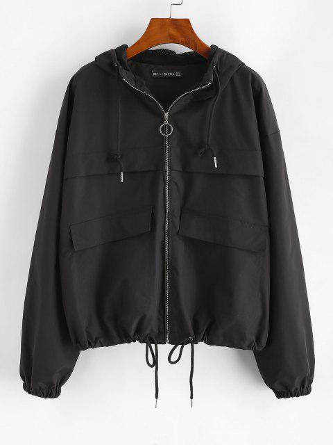 women's ZAFUL Hooded Full Zip Windbreaker Cargo Jacket - BLACK L Mobile