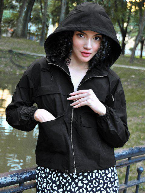 lady ZAFUL Hooded Full Zip Windbreaker Cargo Jacket - BLACK S Mobile