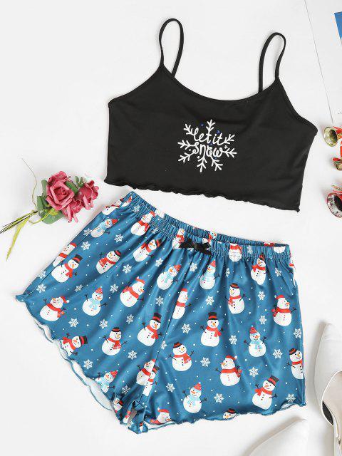 ladies Snowflake Snowman Christmas Two Piece Set - BLACK S Mobile