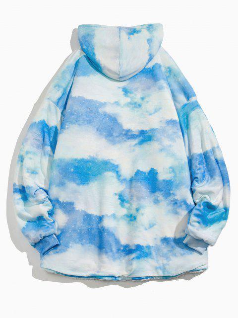 Felpa con Cappuccio in Pile di Tie-Dye - Cielo Azzurro Taglia unica Mobile