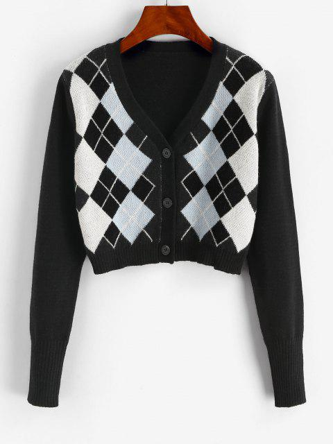 buy Argyle Button Up V Neck Crop Cardigan - BLACK ONE SIZE Mobile