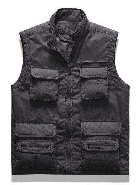online Zip Up Multi Pockets Padded Vest - DARK GRAY 2XL Mobile