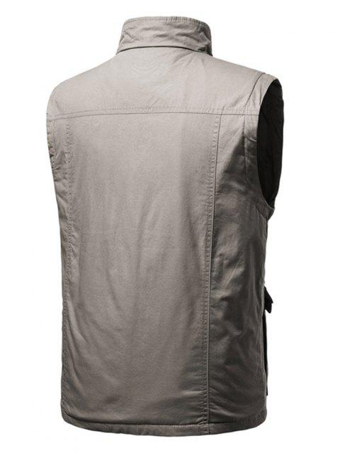 shops Zip Up Multi Pockets Padded Vest - LIGHT COFFEE M Mobile