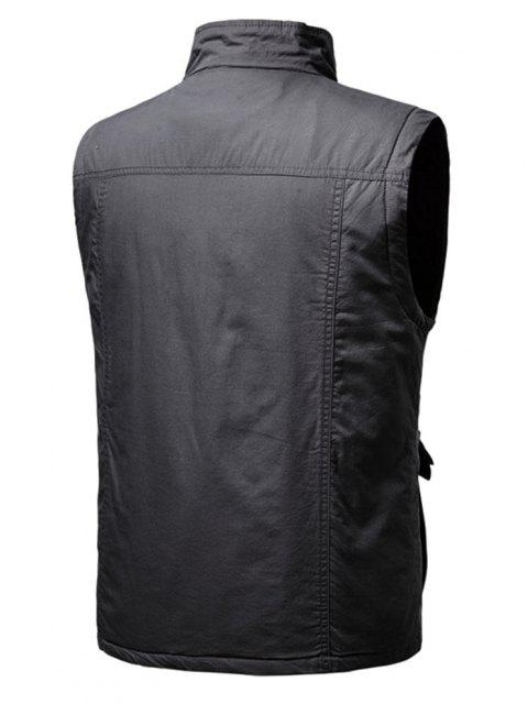 women Zip Up Multi Pockets Padded Vest - DARK GRAY L Mobile