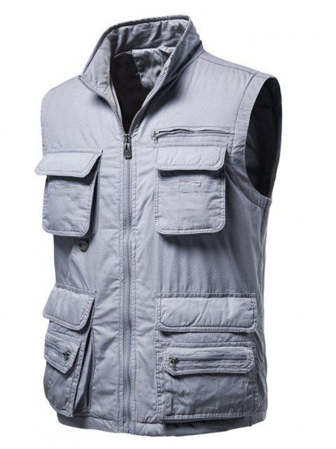 lady Zip Up Multi Pockets Padded Vest - LIGHT GRAY L Mobile
