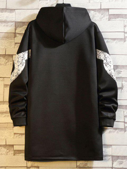 best Hooded Printed Sleeve Zip Pocket Trench Coat - BLACK 2XL Mobile