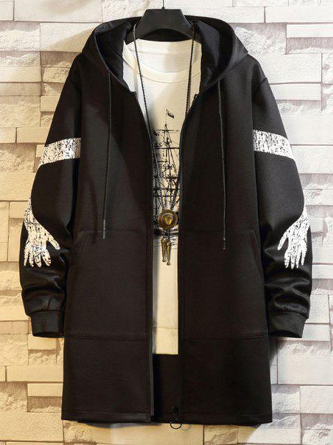 Manteau Trench à Capuche Imprimé avec Poche Zippée à Manches Imprimées - Noir 2XL Mobile