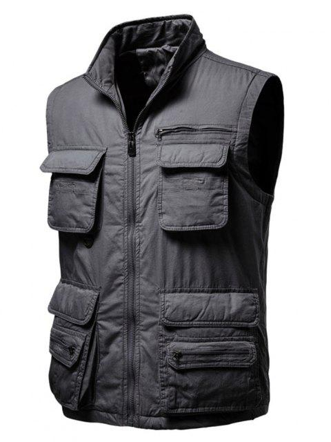 buy Zip Up Multi Pockets Padded Vest - DARK GRAY XL Mobile