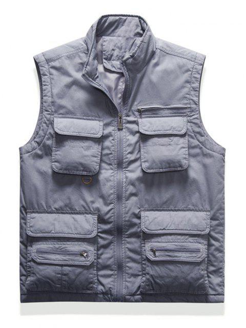 chic Zip Up Multi Pockets Padded Vest - LIGHT GRAY M Mobile