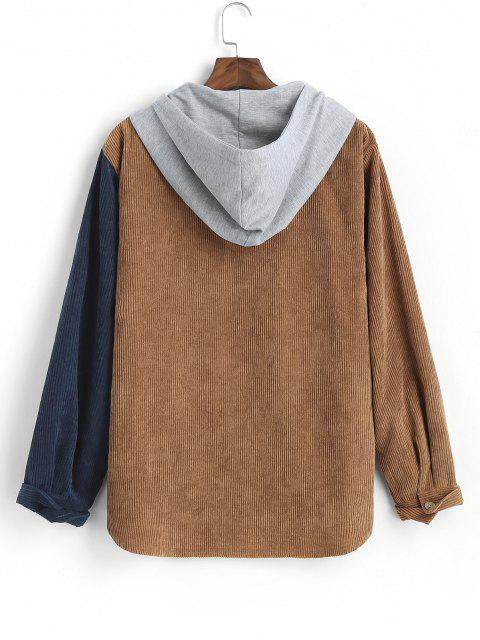 ladies Corduroy Colorblock Panel Hooded Shirt - DEEP COFFEE 2XL Mobile