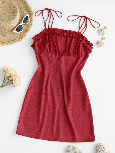 trendy Leopard Tie Shoulder Lettuce Trim Bodycon Dress - RED M Mobile
