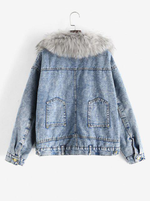 chic Fluffy Lined Denim Jacket with Detachable Faux Fur Collar - BLUE M Mobile