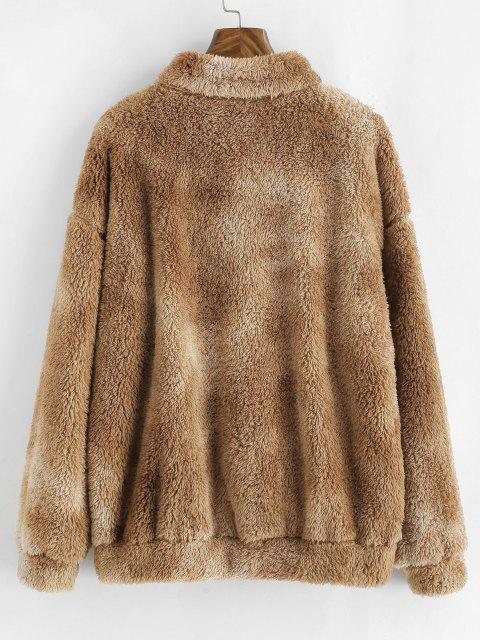 outfit ZAFUL Quarter Zip Front Pocket Fluffy Tie Dye Sweatshirt - LIGHT COFFEE L Mobile