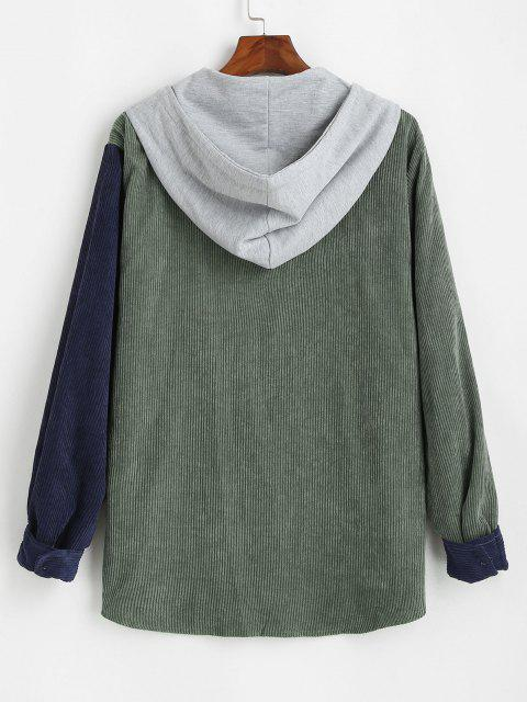 latest Corduroy Colorblock Hooded Shirt Jacket - DEEP GREEN 2XL Mobile