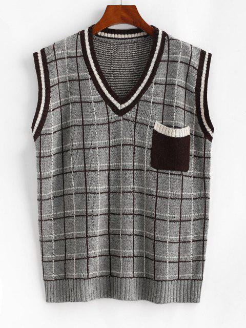 Karierter Vorder Tasche Streifen Pullover Weste - Grau Eine Größe Mobile
