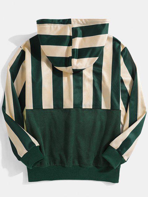 fancy Striped Print Front Pocket Drawstring Hoodie - DEEP GREEN L Mobile