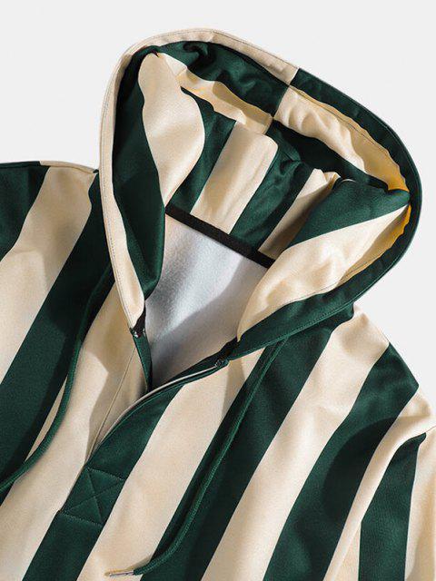 buy Striped Print Front Pocket Drawstring Hoodie - DEEP GREEN 2XL Mobile