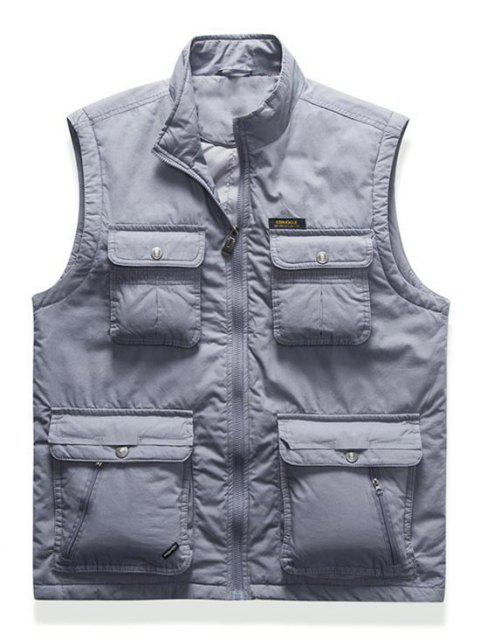 unique High Neck Zip Padded Pocket Cargo Waistcoat - LIGHT GRAY L Mobile