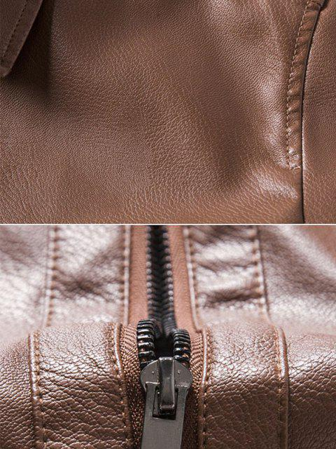 chic Faux Leather Zipper Pocket Jacket - BROWN M Mobile