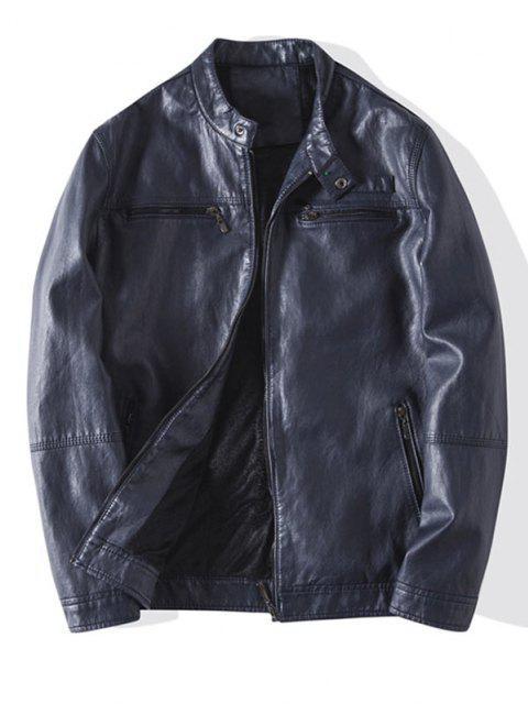 lady Zip Up Faux Leather Fleece Jacket - BLUE GRAY S Mobile