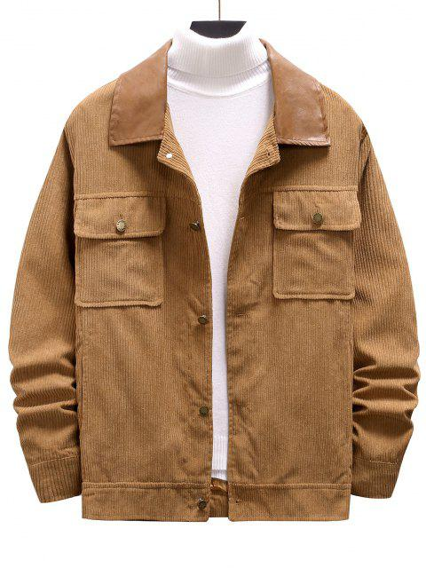 outfits Double Pockets Ribbed Corduroy Jacket - CAMEL BROWN XXL Mobile