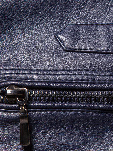 Veste Zippée en Faux Cuir en Laine - Bleu-gris XS Mobile