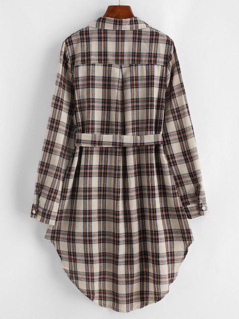 fashion Plaid Belt High Low Shirt Dress - MULTI S Mobile