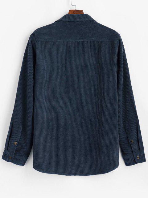 プレーンポケットパッチコーデュロイシャツ - 藍色 2XL Mobile
