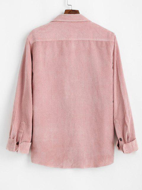 Plain Pocket Patch Corduroy Shirt - وردي فاتح 2XL Mobile