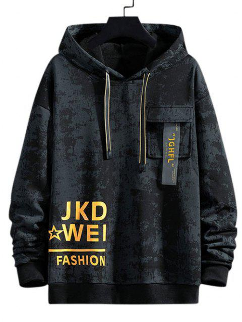 Tie Dye Graphic Flap Pocket Drawstring Hoodie - أسود S Mobile
