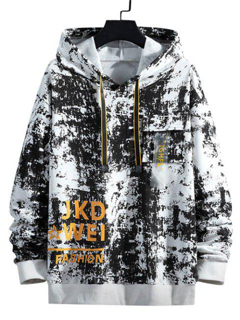 outfits Tie Dye Graphic Flap Pocket Drawstring Hoodie - WHITE S Mobile