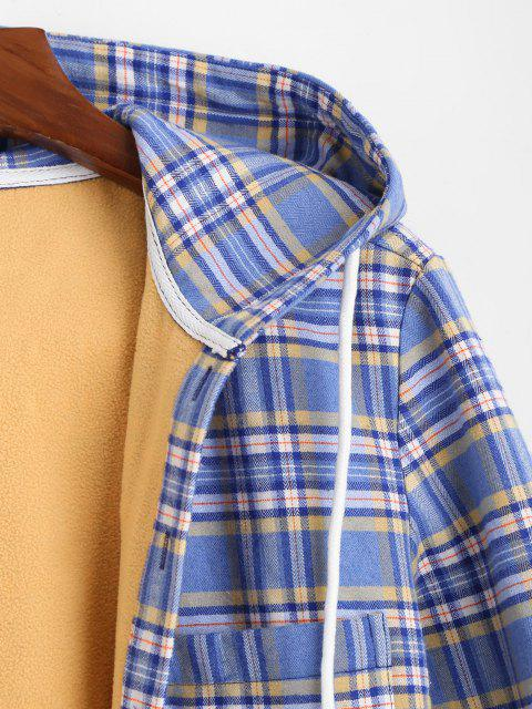 womens Plaid Print Button Up Hooded Pocket Fleece Jacket - LIGHT BLUE 2XL Mobile