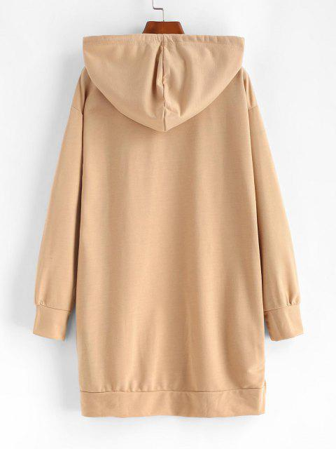 online Ripped Slip Pocket Long Sleeve Hoodie Dress - LIGHT COFFEE M Mobile