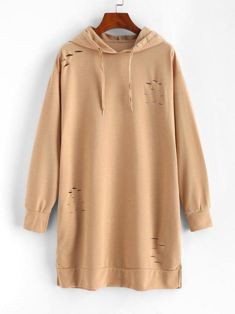 chic Ripped Slip Pocket Long Sleeve Hoodie Dress - LIGHT COFFEE S Mobile