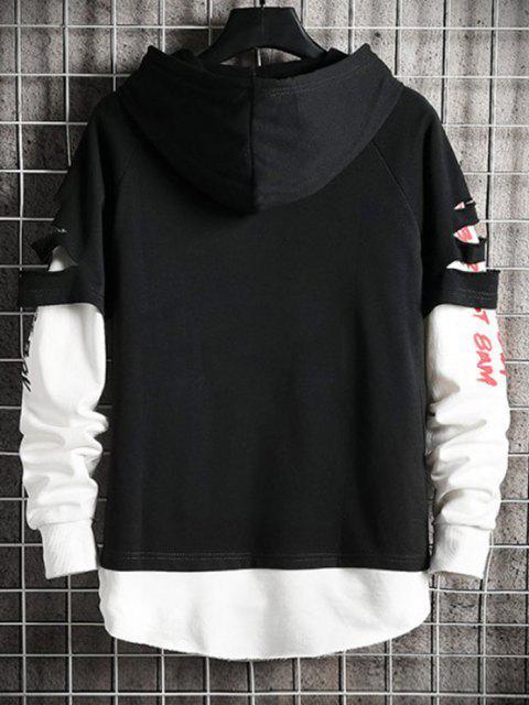 sale Ripped Graphic Doctor Sleeve Kangaroo Pocket Hoodie - BLACK S Mobile