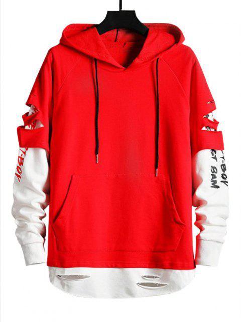 ladies Ripped Graphic Doctor Sleeve Kangaroo Pocket Hoodie - LAVA RED S Mobile