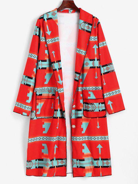 Manteau Long Géométrique Imprimé à Col Châle - Rouge M Mobile
