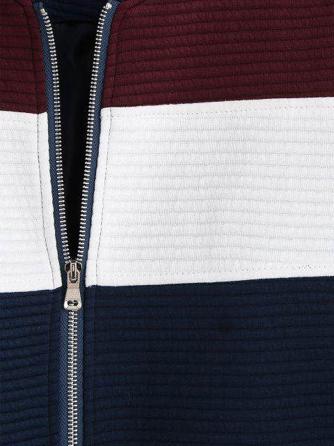 latest Zip Up Contrast Ribbed Jacket - RED WINE M Mobile