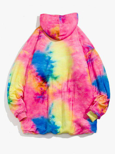 sale Galaxy Tie Dye Print Fleece Blanket Hoodie - FANTASTIC ONE SIZE Mobile