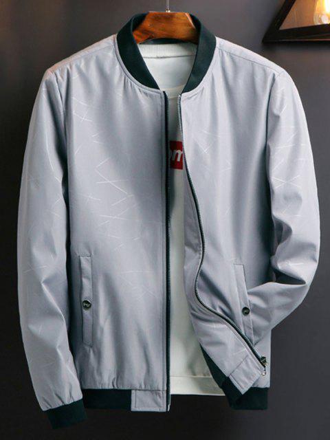 Zip Up Printed Pocket Elastic Hem Jacket - رمادي فاتح S Mobile