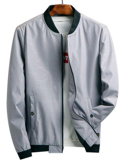 womens Zip Up Printed Pocket Elastic Hem Jacket - LIGHT GRAY XL Mobile