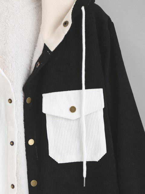 ladies Hooded Double Pockets Contrast Fleece Corduroy Jacket - BLACK L Mobile