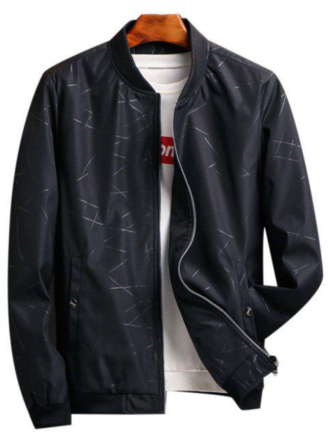 hot Zip Up Printed Pocket Elastic Hem Jacket - BLACK XS Mobile