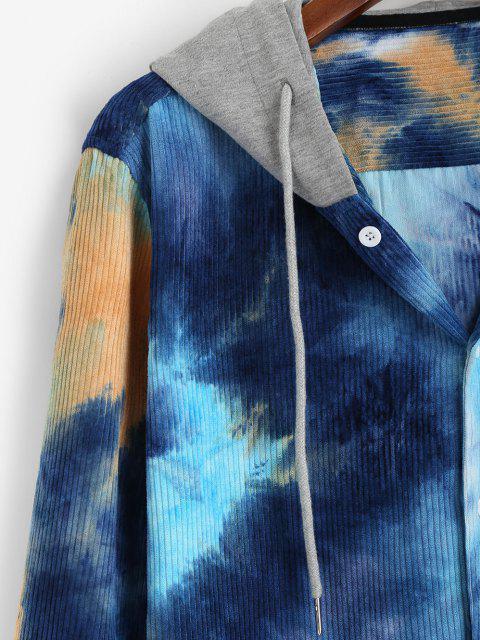womens Hooded Tie Dye Pattern Pocket Corduroy Jacket - BLUE XL Mobile