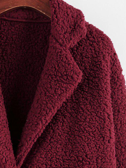 ZAFUL Manteau Goutte Epaule en Fausse Fourrure avec Poche à Revers - Rouge Vineux S Mobile