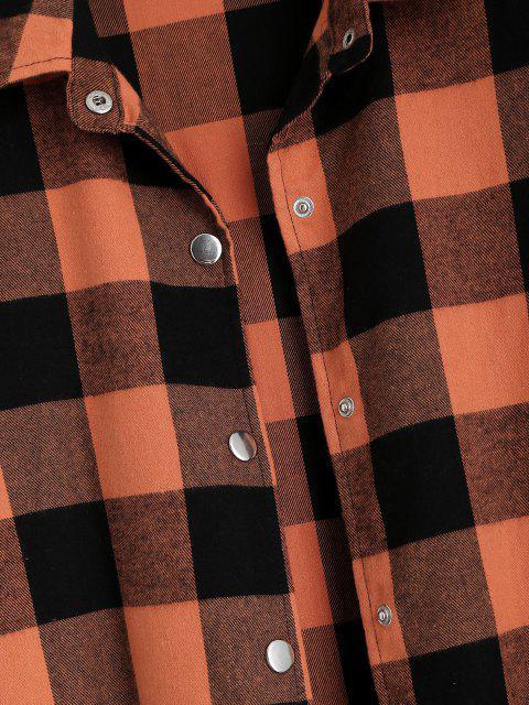 ladies Plaid Snap Button Longline Shacket - ORANGE XL Mobile