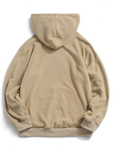 fashion ZAFUL Letter Graphic Embroidered Fleece Mask Hoodie - KHAKI XS Mobile