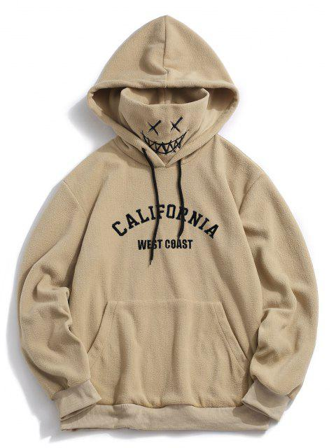 online ZAFUL Letter Graphic Embroidered Fleece Mask Hoodie - KHAKI M Mobile