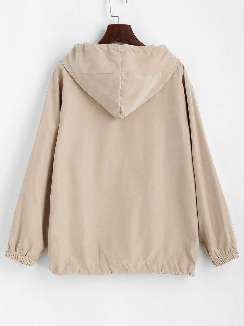 Hooded Front Pocket Drawstring Jacket - القهوة الخفيفة M Mobile